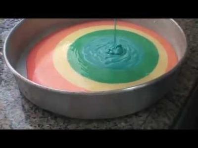 Como fazer.  Bolo colorido!
