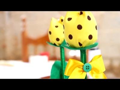 Como fazer um enfeite de Mesa : Vasinho de Tulipa de Tecido de Algodão