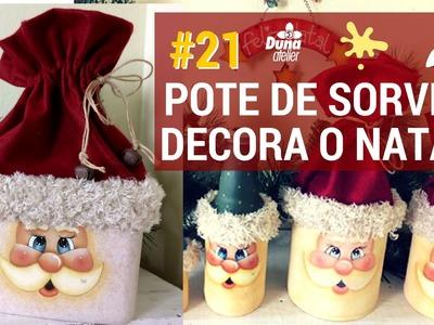 POTE DE SORVETE COM GORRO DE NATAL! PINTANDO COM O ❤ AULA 21 TÂNIA MARQUATO