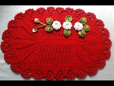 Tapete em Crochê Vermelho com Flores Brancas:Parte2