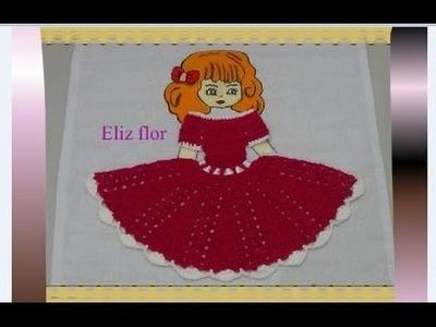 Vestido em crochê para aplicação em boneca no pano de prato 02