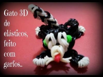 Gato 3D feito de  elásticos,com garfos
