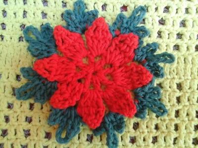 Passo a passo flor em crochê para aplicação em tapete