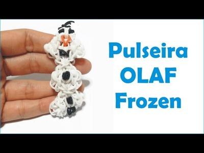 Pulseira Olaf do Filme Frozen de elasticos coloridos loom bands