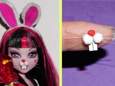 Como fazer focinho ou nariz de coelho para bonecas Barbie e outras - miniatura