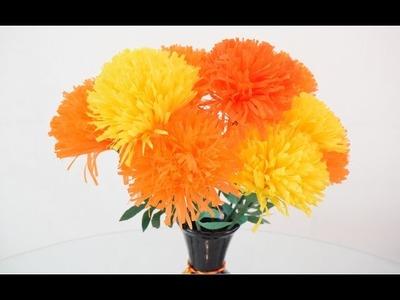 Flores de Cempasúchil. Flores de papel crepe