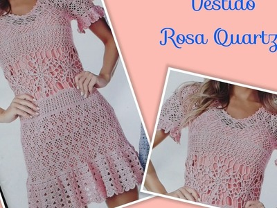Versão destros:Vestido Rosa Quartzo em crochê tam. M ( 6° parte) # Elisa Crochê