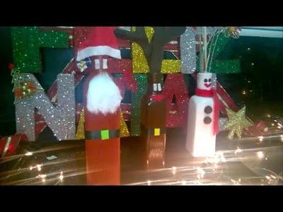 DIY: Papai Noel, Boneco de neve e Hena de garrafa de vidro!