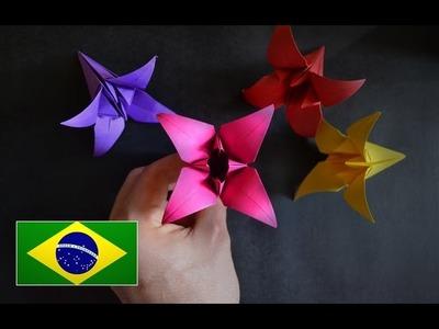 Origami: Flor de Íris - Instruções em português PT BR