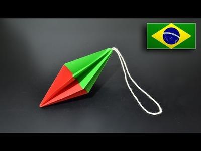 Origami: Ornamento Natalino Simples. Enfeite de Natal - Instruções em Português BR