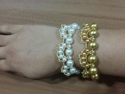 PULSEIRA DE PEROLAS GOLD (faça também um lindo colar e um brinco)