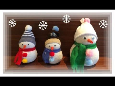 Decoração de Natal - Boneco de Neve feito de meia - Snowman. DIY