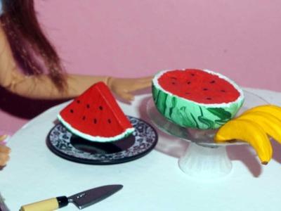 Como fazer banana e melancia (frutas) para boneca Barbie e outras - miniatura