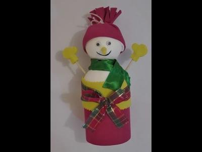 Latinha decorada com boneco de neve