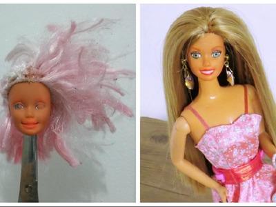Maquiagem de Barbie com Lápis de Cor e Tinta DIY (testando)
