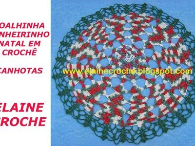 CROCHE PARA CANHOTOS - LEFT HANDED CROCHET - TOALHINHA PINHEIRINHO NATAL EM CROCHÊ CANHOTAS