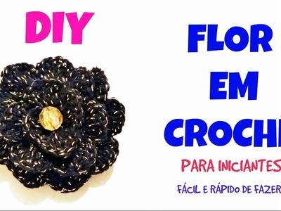 Flor de crochê enrolada para aplicação. decoração - Crochet flower passo a passo fácil