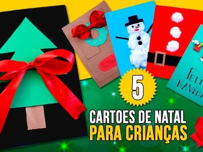 5 DIY CARTÕES DE NATAL para CRIANÇAS