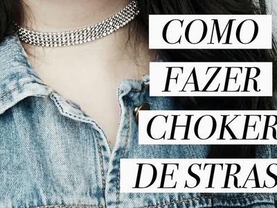 COMO FAZER CHOKER DE STRASS (BRILHANTE). DIY GARGANTILHA PARA FESTAS DE FIM DE ANO