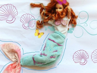 DIY cauda de SEREIA e CONCHAS para BARBIE | mermaid  Blanket