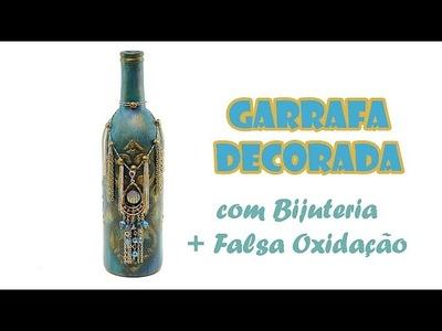 Garrafa Reciclada e Decorada com Bijuterias ( ARTESANATO, DIY, RECICLAGEM )