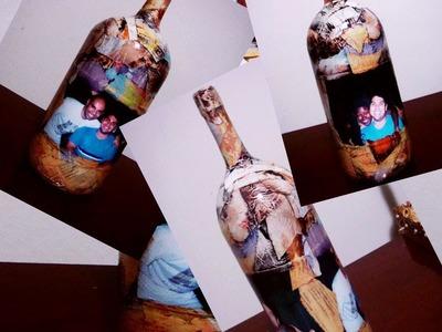 Decoupage em garrafa com revista rasgada e foto (Passo a passo )