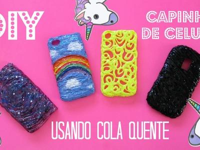 DIY - 4 CAPINHAS DE CELULAR COM COLA QUENTE