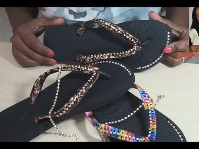 DIY: como colocar strass com fita na correia de chinelos