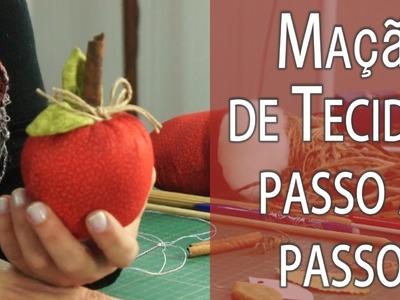 MAÇÃ DE TECIDO PASSO A PASSO + MOLDE, FRUTA #2 DA MINHA CESTA