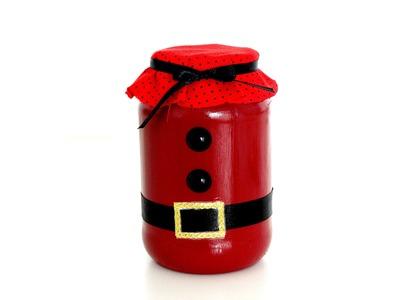 Passo a passo - Vidro de Papai Noel com material reciclável