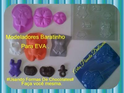 Aprenda a fazer modeladores para EVA #Baratinhos usando formas de chocolates