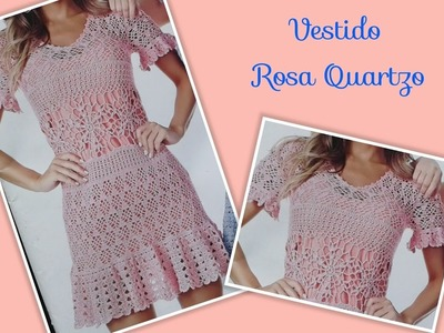 Versão canhotos:Vestido Rosa Quartzo em crochê tam. M ( 5° parte) # Elisa Crochê