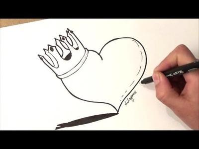 Como desenhar um coração coroado   como desenhar um coração com coroa   passo a paso