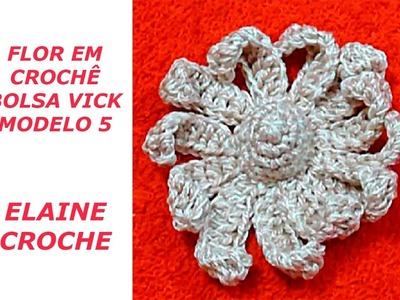 FLOR EM CROCHÊ BOLSA VICK MODELO 5