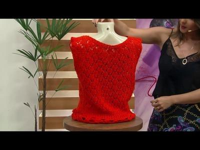 Mulher.com - 24.10.2016 - Blusa laranja em tricô - Vitória Quintal P1