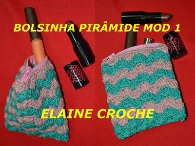 BOLSINHA PIRÂMIDE EM CROCHE MODELO 1