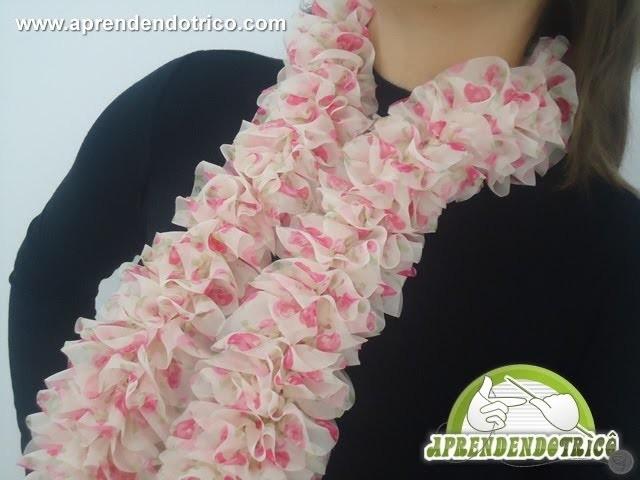 Cachecol de Trico Floral - Aprendendo Tricô Manual