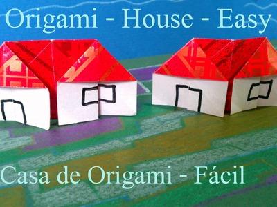Como Fazer uma CASA de Origami fácil - Dobradura de Papel How to make a House Paper Folder Easy