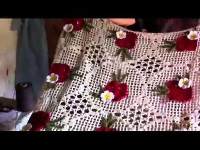 Croche toalha do jogo de cozinha maçã