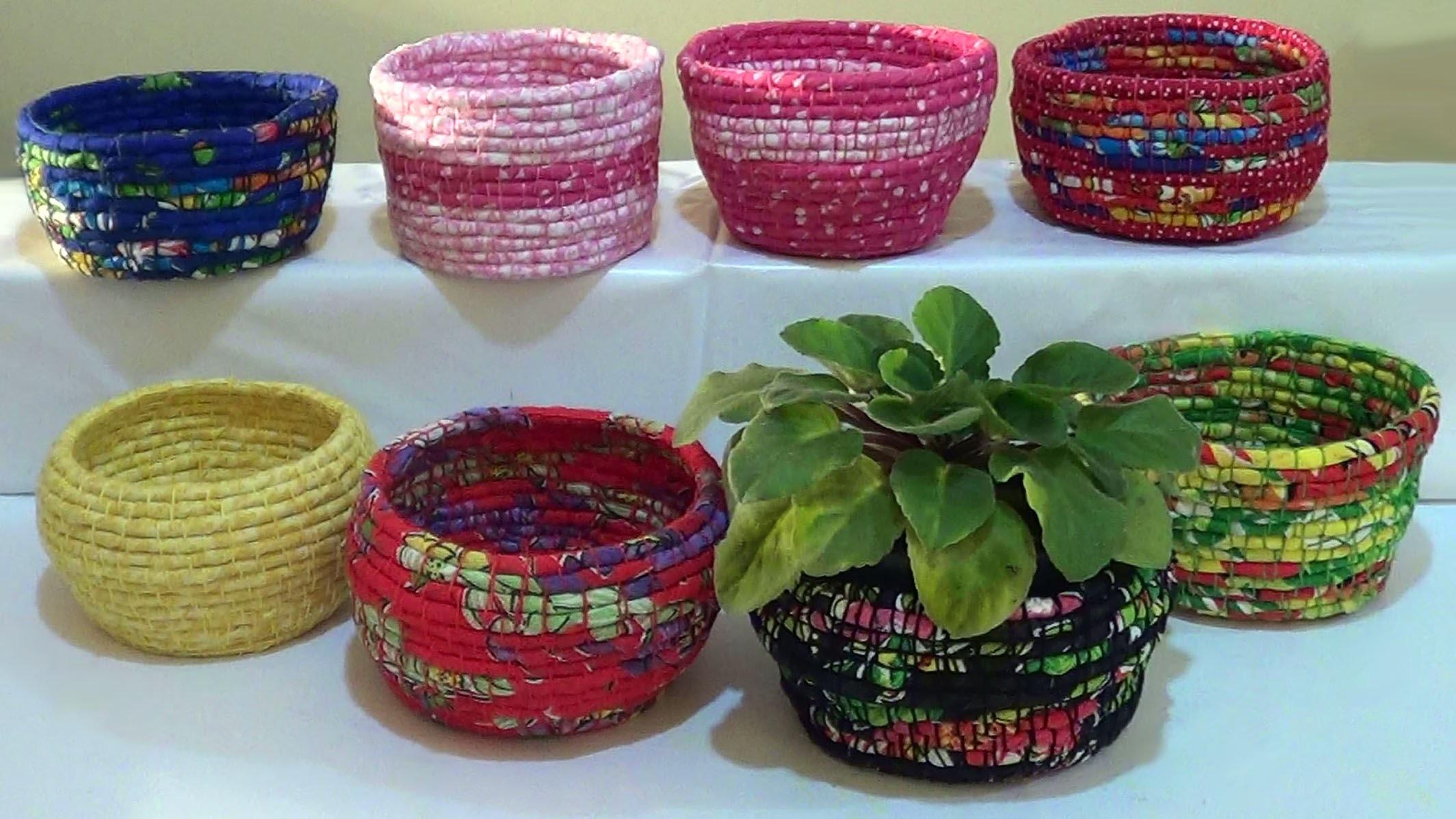 DIY - Cestas de corda e tecido. Baskets of rope and fabric. Cestas de cuerda y la tela