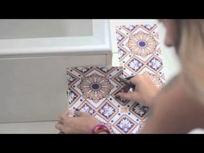 DIY Relógio de parede e adesivos de azulejo
