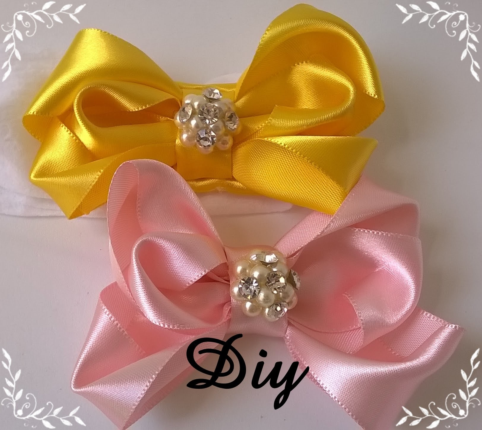 Laço rosa de fita de cetim completo \ Pink satin ribbon bow Diy