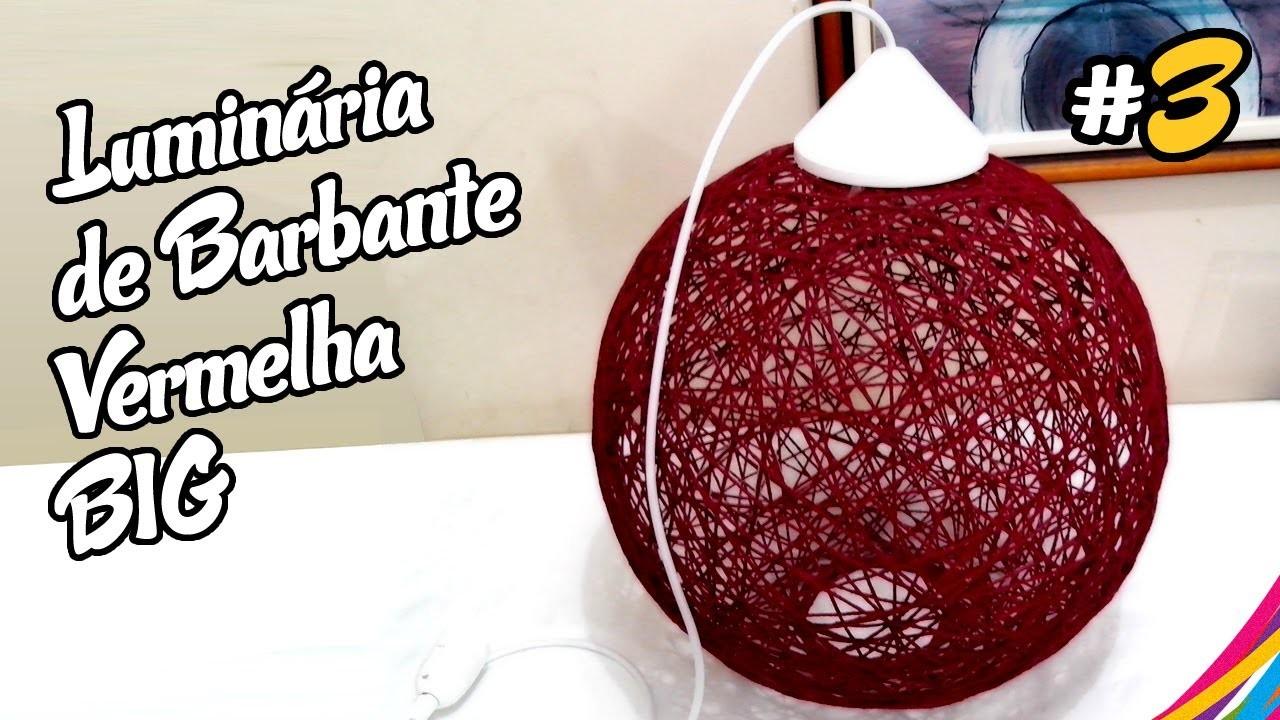 Luminaria de Barbante Vermelha. Red Twine Lampshade. Lampara de Hilo Roja DIY #3