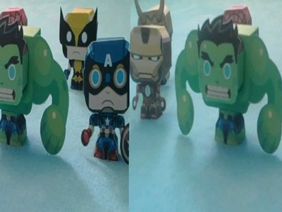 Mini papercraft heróis Marvel, vídeo em 3D