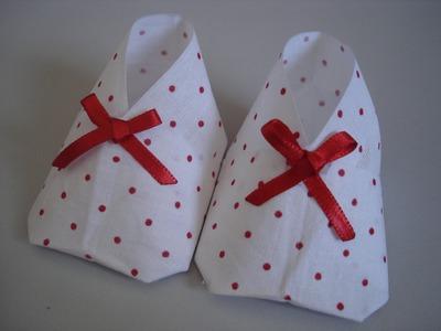 Sapatinho de bebê - Origami.Artesanato - Passo a passo - Tutorial