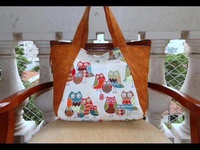 Bolsa sacola das Corujas I - Maria Adna Ateliê - Cursos e aulas de bolsas e sacolas em tecidos
