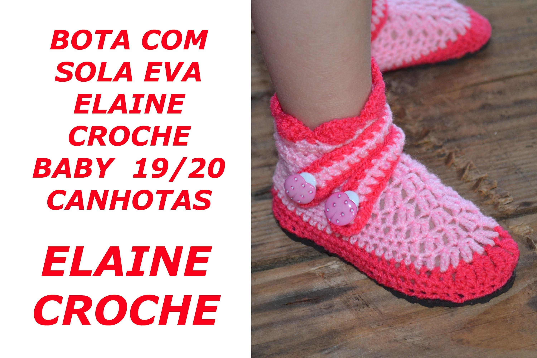 CROCHE PARA CANHOTOS - LEFT HANDED CROCHET - BOTA COM SOLA ELAINE CROCHÊ BABY - TAM 19 20 - CANHOTAS