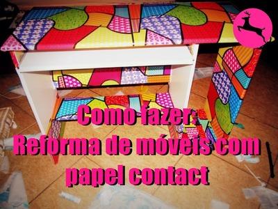 DIY: Como reformar um móvel de madeira com papel contact