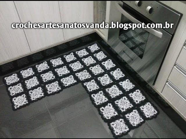 Padrão Tapete em L -  Artesanatos em Crochê Vanda