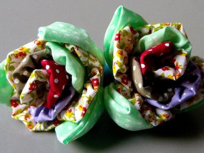 Rosas de FUXICO Novo modelo Passo a Passo - Fabric flower tutorial